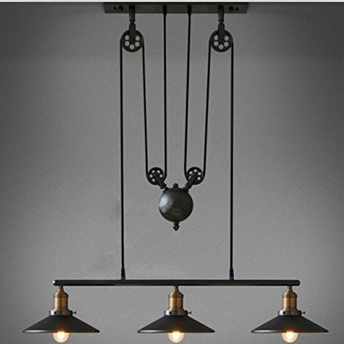 Adjustable Linear Chandelier Industrial Vintage Chandeliers Pulley 3 Light Pendant lighting Fixture for Pool Table Farmhouse Kitchen Island Bar Retro Hanging Lamp 3 Heads Black Painted use E27 Bulb