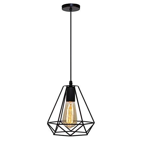 BERGHT LED Pendelleuchte Vintage mit Aufhängung, Metallgehäuse im Käfig-Look, Vintage-Design/Retro-Stil, mit Edison-Fassung, schwarz