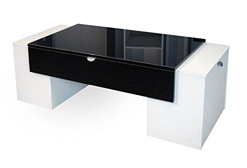 Berlioz Creations Lucky Couchtisch schwarz glänzend/weiß 123x 55x 42cm