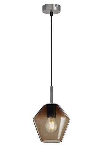 Briloner Leuchten - Pendelleuchte, Pendellampe mit braunem Pentagon-Glas, Basis matt-nickel, E27, max. 40W, inkl. Textilzuleitung, Länge: 1,20 m