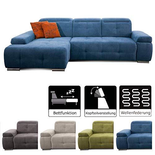 CAVADORE Schlafsofa Mistrel mit Longchair XL rechts / Große Eck-Couch im modernen Design / Mit Bettfunktion / Inkl. verstellbare Kopfteile / Wellenunterfederung