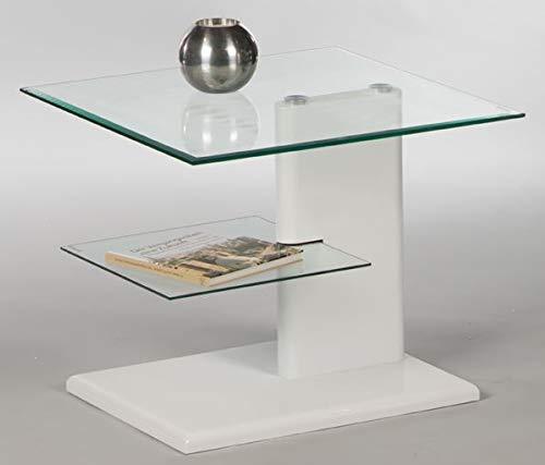 Couchtisch Bianco 16761 Wohnzimmertisch Tisch Glastisch Weiß Hochglanz