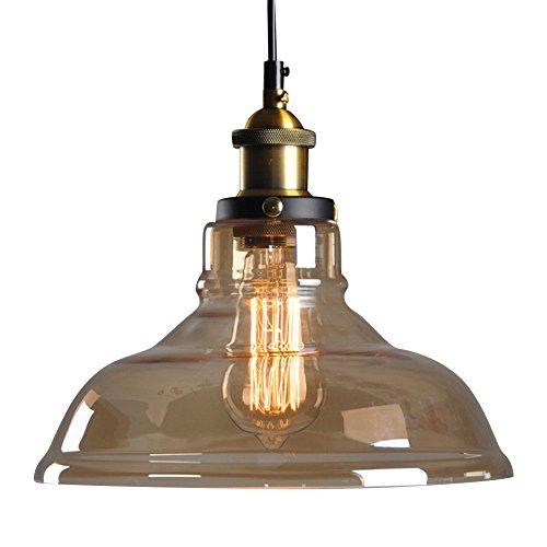 Cozyle Edison-Deckenleuchte, modernes Glas, mit Vintage-Bronze-Lampenhalter, Hängeleuchte für Bar, Restaurant, Café, Zuhause