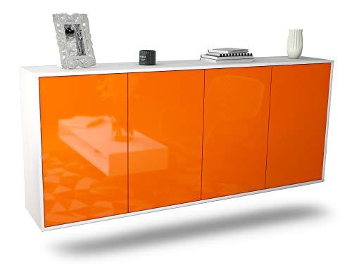 Dekati Sideboard Lakewood hängend (180x77x35cm) Korpus Weiss matt | Front Hochglanz-Design | Push-to-Open
