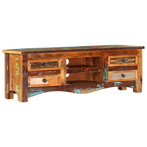 Festnight TV-Schrank | Vintage Fernsehtisch | TV Lowboard Tisch | Retro Fernsehschrank | Holz TV Board | Recyceltes Massivholz 120 x 30 x 40 cm