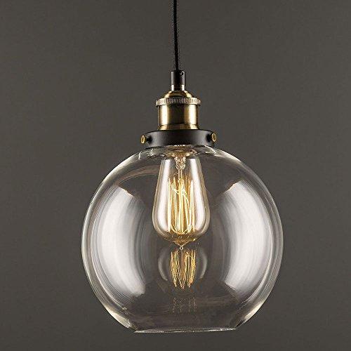 Glas Pendelleuchte Vintage Industrie klar Glas Ball Deckenleuchte rund, Lampenschirm Anhänger Licht für Home Office Schlafzimmer Coffee Shop