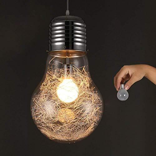 Glaspendelleuchte Vintage Retro Industriedecke Super Big Bulb Pendelleuchten Hängelampe E27 Ø22cm
