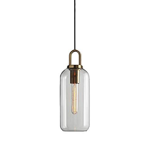HJXDtech 2019 Neue Designmode Industrie Vintage Pendelleuchte Postmoderne Kücheninsel Schlafzimmer Deckenleuchte Glas Lampenschirm Messing Hängeleuchte LED Hängelampe