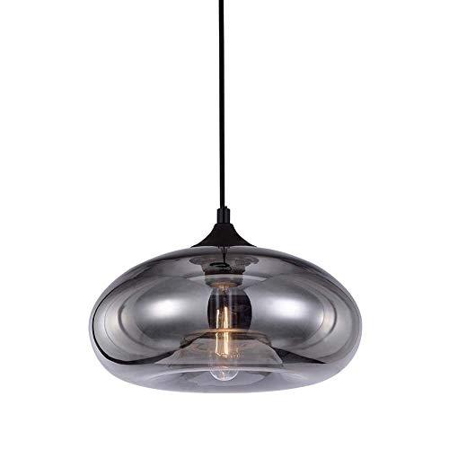 HJXDtech Große Pendelleuchte Industrielle Vintage LOFT Deckenleuchte Hängelampe mit Überzug Smokey Grau Glas Pendelleuchte Lampenschirm