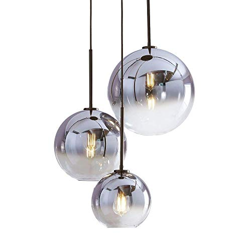 HJXDtech I-Xun Farbverlauf Glas Lampenschirm, E27 Schraubenhalter Pendelleuchte Glaskugel Licht Schatten Ion Silber