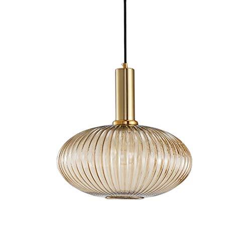 HJXDtech Industrial Vintage Groß Pendelleuchte Moderner Retro-Stil Drop Deckenleuchte Hängelampe Glas Lampenschirm mit poliertem Messing Lampenfassung
