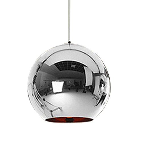 Huahan Haituo Lampenschirm Moderne Kupfer Spiegel Kronleuchter Kugel Pendelleuchte Globe aus Chrom mit Faden 120 cm, Durchmesser Tre 15cm / 20cm / 25cm