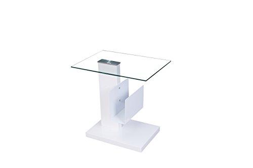 IDENSES Couchtisch Beistelltisch Tisch Hochglanz weiß mit Glasplatte NELE A