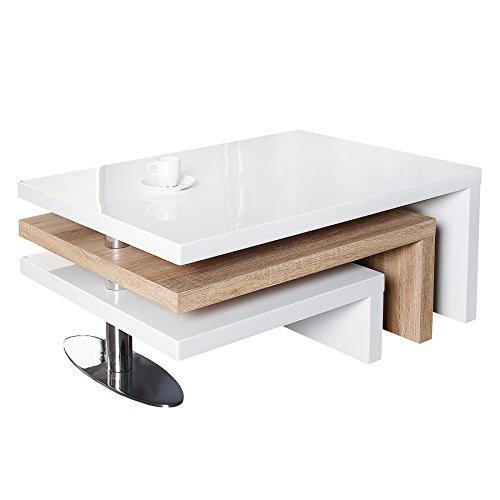 Invicta Interior Funktioneller Design Couchtisch HIGHCLASS Hochglanz Lack Weiss Sonoma Eiche Tisch