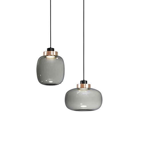 KESAI HomeDeco Moderne LED-Pendelleuchten, runden grau Glas Hängelampe Pendellampe für Esstisch, Höhenverstellbare Hängeleuchten Kronleuchter für Esszimmer, Schlafzimmer und Wohnzimmer