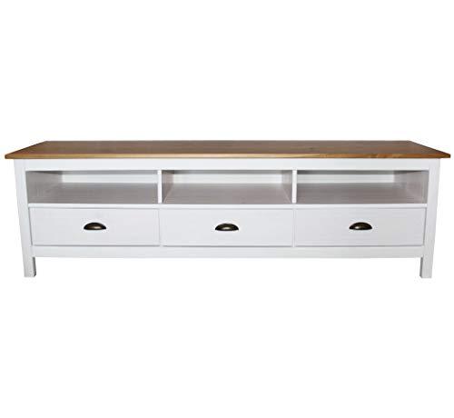 KMH®, TV-Schrank/Lowboard Sven im modernen Design aus Massivholz gefertigt (158 x 40 cm) (#201135)