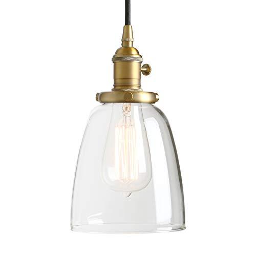 Phansthy Modernes klarglas Glocken Pendelleuchte Hängeleuchte Vintage Hängelampen Hängeleuchte Pendelleuchten Loft-Pendelleuchte im Landstil