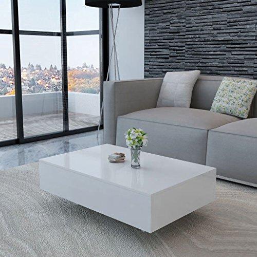 ROMELAREU Couchtisch Hochglanz Weiß Möbel Tische Ziertische Couchtische