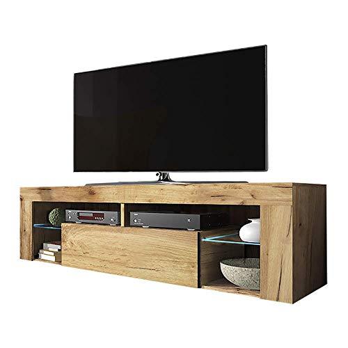 Selsey HUGO - TV-Lowboard/Fernsehschrank Stehend mit Klapptür und LED Beleuchtung, Holzoptik Eiche Lancaster, 35 x 140 x 51 cm