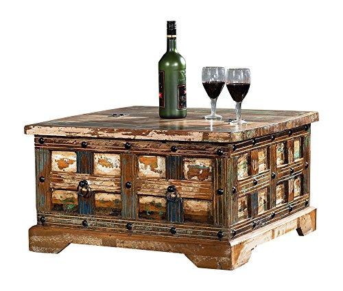 The Wood Times Couchtisch Delhi Schubladen Recyceltes Holz Shabby Chic Tisch Beistelltisch Truhe