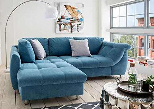 lifestyle4living Ecksofa mit Schlaffunktion | Eckcouch Eckgarnitur Polsterecke L Couch Sofa L Form | Wohnlandschaft inkl. Rückenkissen und Zierkissen | Stoff Blau