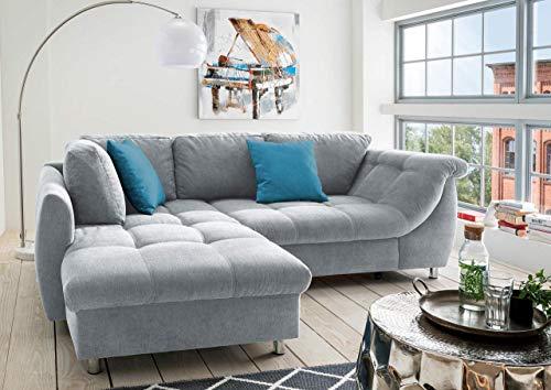 lifestyle4living Ecksofa mit Schlaffunktion | Eckcouch Eckgarnitur Polsterecke L Couch Sofa L Form | Wohnlandschaft inkl. Rückenkissen und Zierkissen | Stoff Grau