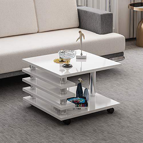 Couchtisch Melanie Weiß Hochglanz mit Rollen 65 x 65 cm Tisch Wohnzimmertisch Sofatisch