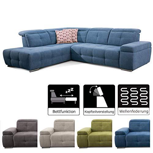 CAVADORE Schlafsofa Mistrel mit Ottomane rechts / Große Eck-Couch im modernen Design / Mit Bettfunktion /Wellenunterfederung