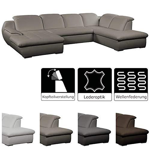 CAVADORE Wohnlandschaft Claanc in Lederoptik / Modernes Sofa in U-Form / 345 x 77 x 220 / weiß, elefant, fango, mocca