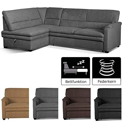 Cavadore Ecksofa Pisoo / L-Sofa mit hochwertigem Federkern im klassischen Design