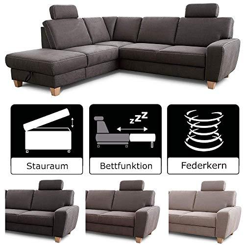 Cavadore Ecksofa Wisconsin mit Federkern / Landhaus Sofa mit 2 Kopfstützen / Landhausstil / Holzfüße in Buche / Mikrofaser in Lederoptik / Größe: 248 x 88 x 215 cm (BxHxT) / Farbe: Dunkelgrau