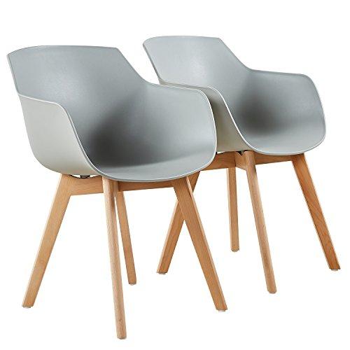 H.J WeDoo Lot von 4 Esszimmerstuhl, Retro Stuhl Küchenstuhl Armlehne mit solide Buchenholz Bein