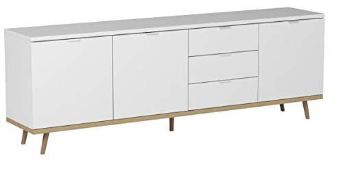Newfurn Sideboard Kommode Skandinavisch Anrichte Highboard Mehrzweckschrank II 200x68x 40 cm (BxHxT) II [Elia.Seven] in Weiß/Weiß Wohnzimmer Schlafzimmer Esszimmer