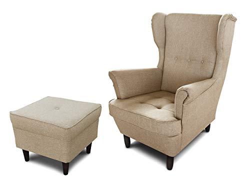 Ohrensessel King - Sessel gepolstert, Lounge Sessel mit Armlehnen, Retro Stuhl aus Stoff mit Holz Füßen, Polsterstuhl für Esszimmer & Wohnzimmer
