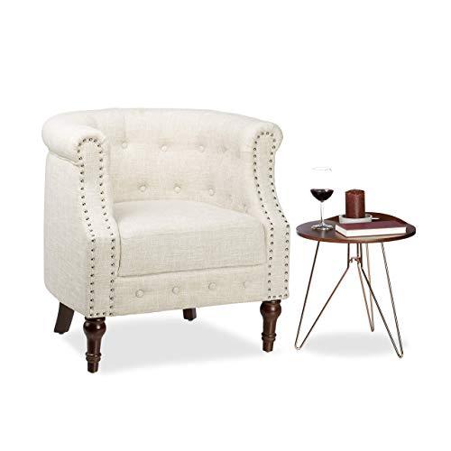 Relaxdays Retro Sessel, Chesterfield-Design, Stoffbezug, Nietenbesatz, bequemes Sitzpolster, HxBxT: 76x71x67cm, beige, Standard