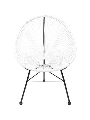 Retro Acapulco Lounge Relax Sessel Rahmen & Füße Pulverbeschichtet Indoor & Outdoor Weiss