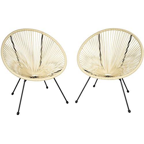 TecTake 800729 2er Set Acapulco Garten Stuhl, Lounge Sessel im Retro Design, Indoor und Outdoor, pflegeleicht, Relaxsessel zum gemütlichen Sitzen - Diverse Farben -