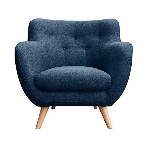 myHomery Sessel Adele gepolstert - Polsterstuhl für Esszimmer & Wohnzimmer - Lounge Sessel mit Armlehnen - Eleganter Retro Stuhl aus Stoff mit Holz Füßen -