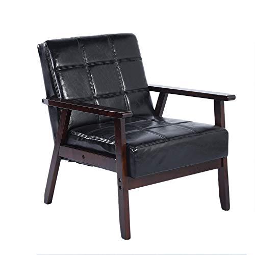 setsail Sessel Samt Holzsessel Loungesessel Wohnzimmersessel Retro Stuhl Lehnstuhl mit Armlehne für Wohnzimmer Schlafzimmer