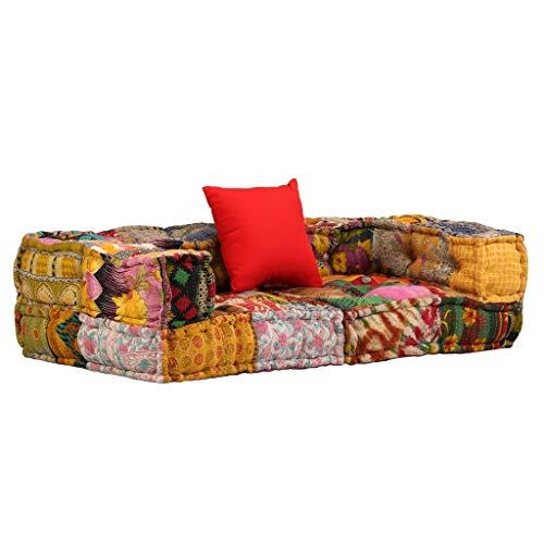 vidaXL Sofa 2-Sitzer Modular mit Armlehnen Stoff Patchwork Polstersofa Couch