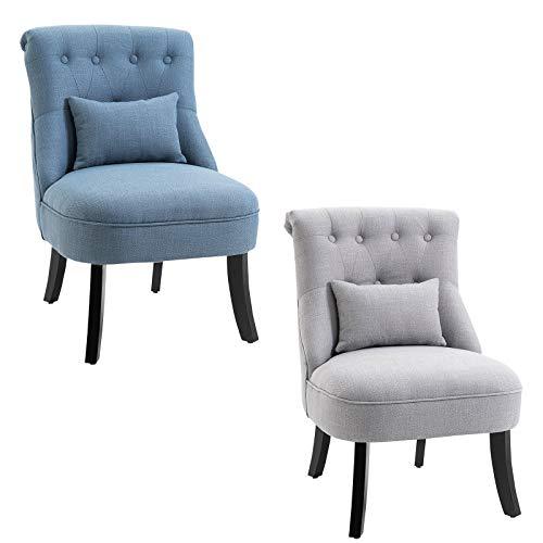 HOMCOM Relaxsessel mit Rückenkissen, Sessel, Fernsehsessel, Erhöhte Füße, Leinen, Blau/Grau, 52,5 x 69 x 77 cm