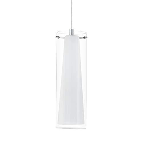 EGLO Pendellampe Pinto, 1 flammige Pendelleuchte, Material: Stahl, Farbe: chrom, Glas: klar, opal matt, weiß, Fassung: E27