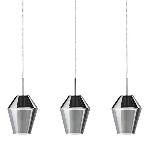 EGLO Pendelleuchte Murmillo, 3 flammige Hängelampe, Hängeleuchte aus Stahl in chrom und Glas in schwarz-transparent, Esstischlampe, Wohnzimmerlampe hängend mit E27 Fassung
