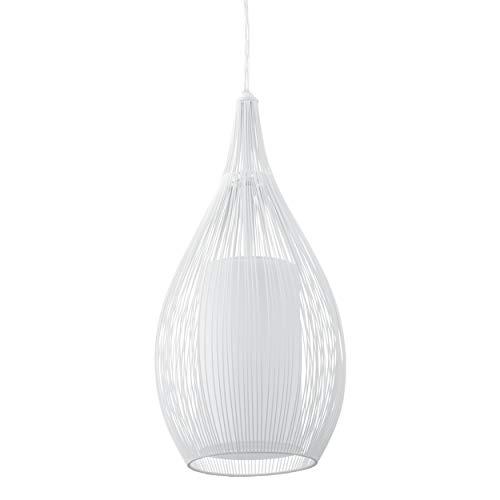 EGLO Pendellampe Razoni, 1 flammige moderne Pendelleuchte, Material: Stahl, Glas: satiniert, Farbe: weiß, Fassung: E27