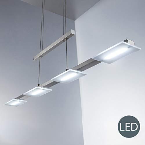 B.K.Licht I LED Pendelleuchte inkl. 4x 4W Platinen I Höhenverstellbar I 3.000K warmweiß I Länge: 87cm I Echtglas I Matt-Nickel I Deckenlampe