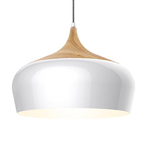 Tomons Pendelleuchte Holzimitat rustikal mit Nylon-ummantelten Netzkabel, E27, max. 60W Glühbirne oder 12W LED-Lampe, für Esszimmer, Wohnzimmer, Arbeitszimmer - PL1001