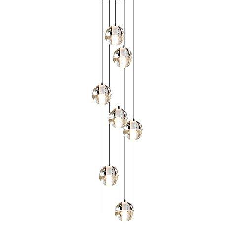 CARYS LED Deckenleuchte Warmweiss Lampenschirm Deckenlampe Wohnzimmer Pendelleuchte Kristall Kronleuchter Hängeleuchte Esszimmer G4*7 2W 2700K Lampe Schlafzimmer Küche Treppen