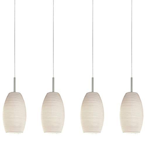 EGLO Pendellampe Batista 3, 4 flammige Hängelampe, Pendelleuchte aus Stahl, Farbe: Nickel-matt, Glas: Wischtechnik, weiß, Fassung: E27