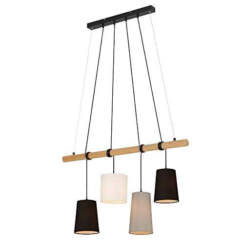 Briloner Leuchten - Pendelleuchte, Pendellampe 4-flammig, 4x E14, max. 25 Watt, Holz-Stoff, Farbe: Schwarz, Weiß, Grau, 900x1.700mm (LxH)