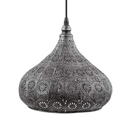 EGLO Pendelleuchte Melilla, 1 flammige Hängelampe Vintage, Orientalisch, Marokkanisch, Hängeleuchte aus Stahl in Silber-Antik, Esstischlampe, Wohnzimmerlampe hängend mit E27 Fassung, Ø 28,5 cm